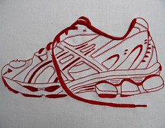 runner (kootoyoo) Tags: embroidery asics runner redwork chainstitch frenchknot stemstitch thequiltproject