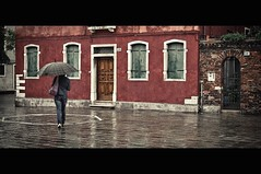 It was a rainy day in Murano (Fabrice Drevon) Tags: street blue venice red italy woman reflection green rain umbrella 35mm tile nikon jean murano fr dx d90 fabricedrevon