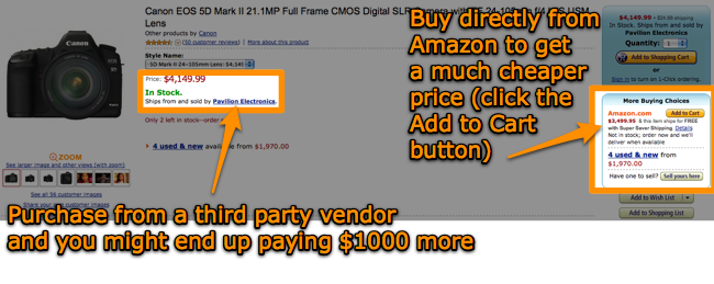Purchase the Canon 5D Mark II directly from Amazon, and not via a third-party vendor on Amazon