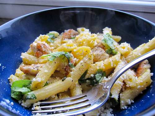 penne pasta with butternut squash sauce, grilled chicken and basil