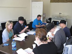 Aine, Glenn, Clive, Bodo, David, and Grainne at the table read through