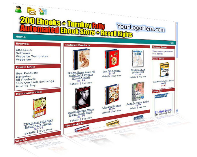 Automated eCommerce Web Site Ebook Store screenshot
