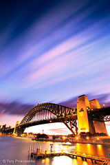 Sydney Harbour Bridge (-yury-) Tags: longexposure bridge sunset sky motion nature water night clouds harbour sydney australia nsw
