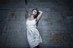 Only to Fall (vespir) Tags: woman white wall dark hair rust aluminum dress wind blowing falling shack descend