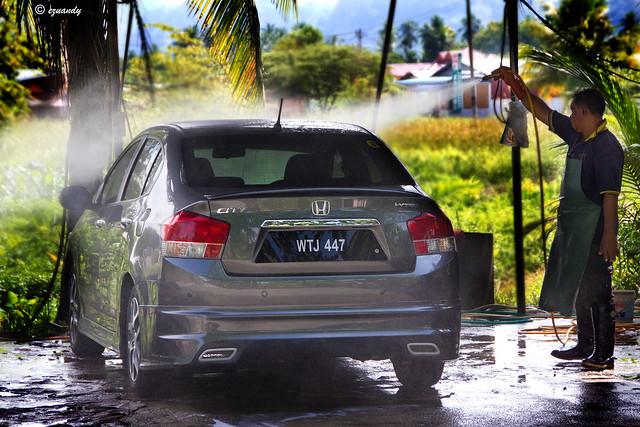 Wash car at car wash