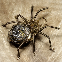 Steampunk Clockwork Spider Brass and Copper Wire Sculpture (Catherinette Rings Steampunk) Tags: sculpture canada clock metal vintage golden spider wire punk artist quebec designer handmade antique montreal daniel steam copper etsy custom brass artisan steampunk proulx catherinetterings