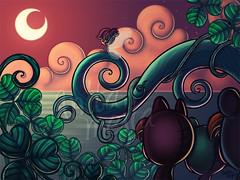 Lost Boys (Anita Mejia) Tags: ocean plants moon illustration scenery fairy artshow clovers inks lostboys lansacape neverlad anitamejía