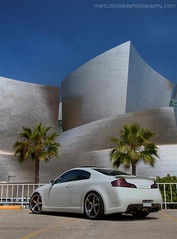 Infiniti G35 Coupe - Walt Disney Concert Hall (CandlestickPark) Tags: skyline la losangeles nikon downtown tint nikkor custom import coupe g35 lowered hdr jdm modded bbk infiniti disneyconcerthall 20s brembo nismo 1755 d300 bodykit ings 1755mm 1755mmf28 chargespeed