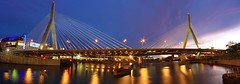 I built this bridge (Amar Raavi) Tags: city longexposure bridge sunset panorama reflection water boston night canon highway nightshot unitedstates massachusetts charlesriver newengland sigma wideangle freeway charlestown bigdig suspensionbridge bostongarden amar beantown zakimbridge bostonist i93 bunkerhillbridge centralartery sigma1020mm leonardpzakim cablestayedbridge leonardpzakimbunkerhillmemorialbridge photostitching interstate93 imagestitching tdgarden raavi canoneos40d tdnorthbankgarden amarraavi zakimbunkethillmemorialbridge ibuiltthisbridge
