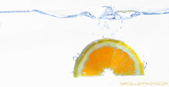 Orange in water splash (M.M.MarCeLLo) Tags: orange water fruit photographer serbia bubbles splash marcello marko