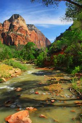 The Mountain of The Sun - Zion National Park (DSE_4478-80) (masinka) Tags: park red cliff sun mountain green water rock river photo rocks image picture virgin national photograph valley land vegetation zion fertile mountainofthesun americanw09