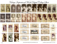 Vintage_Inspirational_Words (Kate Bangs) Tags: collage sepia digital vintage women sheets photographs sheet etsy