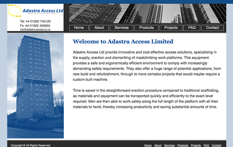 Adastra Access website