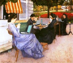 Women of WiFi, after Caillebotte (Mike Licht, NotionsCapital.com) Tags: france art painting women satire computers blogs wifi blogging impressionism laptops anachronism caillebotte arthumor mikelicht notionscapitalcom portraitslacampagne