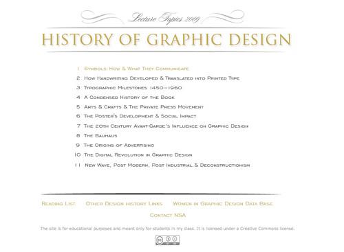 portada del sitio Historia del Diseño Gráfico