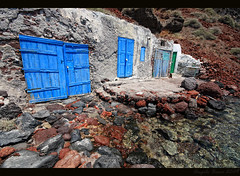 The Blue Doors at Oia Small Harbour (Santorini) (Angelo Bosco) Tags: blue sea water greek mare doors harbour blu santorini greece porto grecia acqua oia purity   purezza  colourartaward platinumheartaward   colourednotes angelobosco