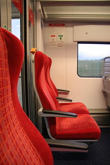 South West Trains: red seats on way home (Goss) Tags: london hotel afternoontea montague