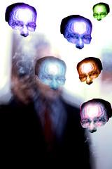 The Six Magic Masks of WLD (Walker Dukes) Tags: sanfrancisco california camera blue red orange white man green art colors yellow collage shirt photography haze artist bokeh magenta tie smoking spooky suit jacket mature montage mystical bluegreen