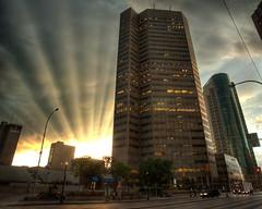 Trizec Sun Rays (bryanscott) Tags: sun building architecture clouds downtown winnipeg ray manitoba hdr bxk ppc13