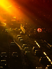 4 Atardeceres & Contraluces de Ciudad... (ToniMolero07) Tags: madrid light sunset red sky espaa orange sun color cars luz sol colors yellow contraluz atardecer spain rojo colores reflected amarillo cielo naranja coches backlighting reflejos golddragon yourcountry