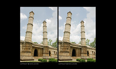 minerates, champaner (nevil zaveri) Tags: world sky india heritage architecture blog site 3d crosseye shrine muslim islam stock images mosque carving unesco stereo muslims zaveri baroda masjid islamic gujarat stockimages travelogue jama gujrat nevil 3dimensional pavagadh champaner minarettes pavagarh minars nevilzaveri