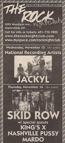 11/16/06 Skid Row/King's X/Nashville Pussy/Mardo @ Maplewood, MN (Ad)