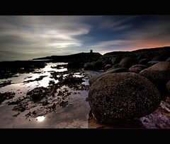 C a s t l e | M o o n l i g h t  #1 (Reed Ingram Weir) Tags: longexposure sea moon castle water clouds canon rocks tide low full northumberland lee mk2 moonlight 5d filters 1740mm dunstanburgh gnd 09h reedingramweir