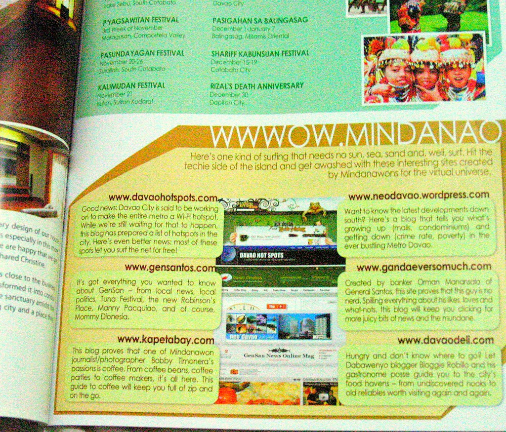 M Magazines feature on Mindanao blogs, including two from GenSan - GenSan News Online and Ganda Ever So Much
