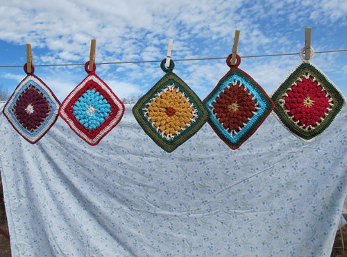 Fronts of completed potholders