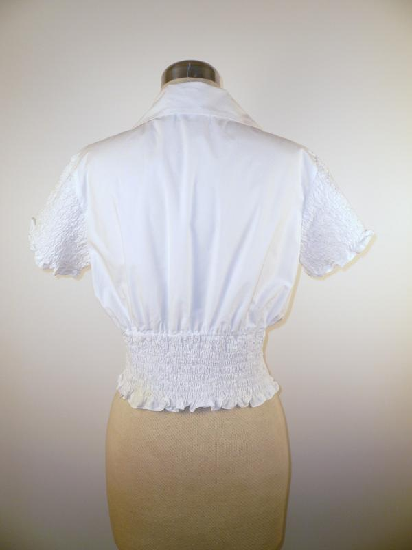 Back - Cute Cropped Cotton Blouse with Ruched sleeves and waist