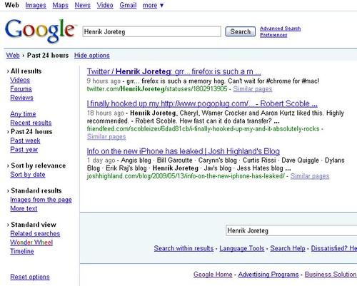 screen shot of recent search for Henrik Joreteg