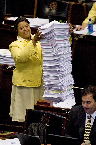 On closing day of the 95th General Assemblys first regular legislative session, Rep. Maria Chappelle-Nadal easily had the tallest stack of paper on her desk.