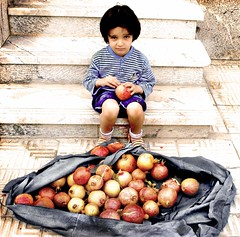 (DeLaRam.) Tags: red house fruit child sad edited pomegranate explore helpme shahrzad