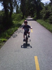 Jacob riding on the bike trail