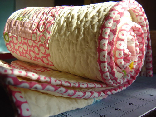 Girly Baby Quilt Binding