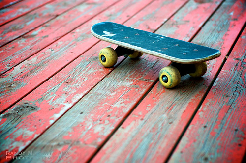 Mini Skateboard On Red Deck