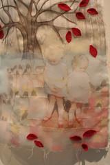 The Red Shoes (close up) (rettgrayson) Tags: collage warm heart silk stitching organza muslin singlet rettgrayson lorettagrayson