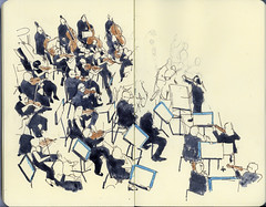 Overhead view of the string section (Wil Freeborn) Tags: city moleskine sketch glasgow journal halls bbc sso listenhere