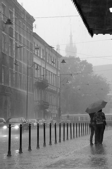 Heavy rain in Kraków