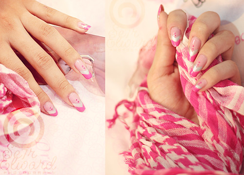 stylish nail art pink design