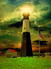 I CAN SEE FOR MILES (SOUTHERN HEART) Tags: light sky lighthouse grass photoshop flag tybee georiga mywinners oceran southernheart grouptripod peasceawards