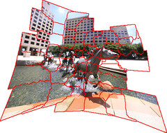 Las Colinas Mustangs, behind the scenes (3dphoto.net) Tags: panorama grid dallas mosaic wideangle photomerge irving mustangs explained lascolinas williamssquare brenizermethod