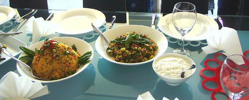 Quinoa Salad, Corn & Avocado Salsa with fresh herbs, Tzatziki