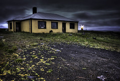 Grenivk (andres.thor) Tags: sky stilllife house abandoned night clouds canon dark landscape countryside iceland sand cabin gloomy country cottage dramatic driveway nightscene hdr burned sland photomatix grmsey 400d