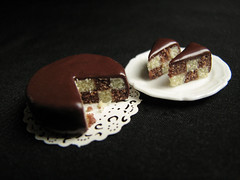 Another checkerboard cake (inside out) (goddess of chocolate) Tags: food cake miniature doll chocolate small mini polymerclay tiny dollhouse 112th 12thscale