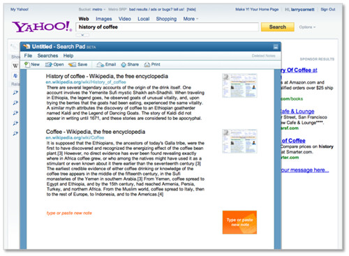 New Yahoo! Search Page - Search Pad