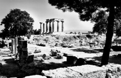 Ancient Corinth (angelsgermain) Tags: city bw architecture temple ruins columns greece archeology doric polis archaic greekart peloponnese archeologicalsite greekreligion ancientcorinth aplusphoto