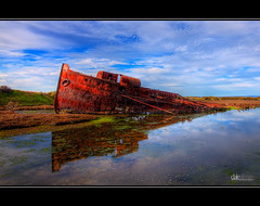Mutton Cove Wreck II - HDR (Dale Allman) Tags: sky reflection nature water clouds canon rust ship australia wideangle shipwreck adelaide 100 20 wreck southaustralia hdr 1740 portadelaide 3xp photomatix muttoncove 5dmkii