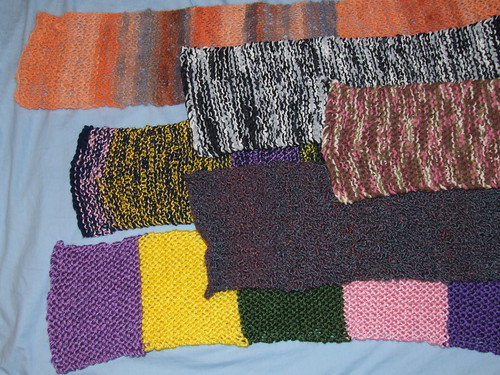 All six charity scarves