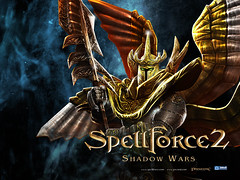 SpellForce 2 wallpaper of the Realms Titan, on blue background